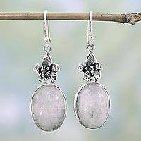 Moonstone floral earrings, 'Azalea' - Moonstone Earrings in Sterling Silver Floral Earrings