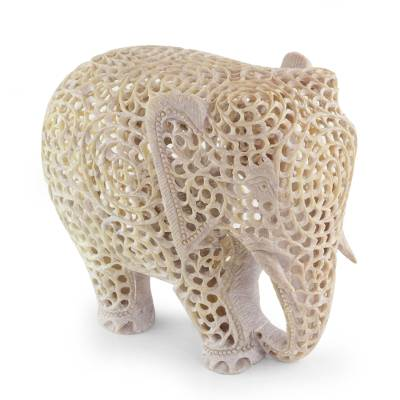 Hand Carved Jali Soapstone Elephant Sculpture