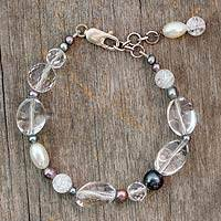 Pearl and quartz link bracelet, Shimmer