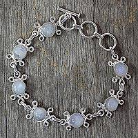 Moonstone flower bracelet, 'Daisy Chain' - Indian Moonstone Bracelet with Floral Sterling Silver Design