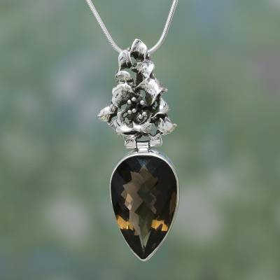 Smoky quartz flower necklace, 'Tiger Lily' - Artisan Crafted Sterling Silver and Smokey Quartz Earrings