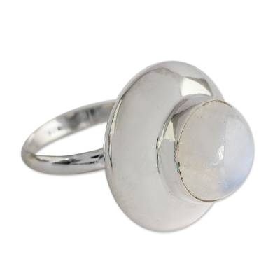 Rainbow Moonstone and Sterling Silver Ring from Bali