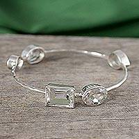 Quartz bangle bracelet, 'Clarity' - Crystal Quartz Bangle Bracelet Modern Jewelry from India