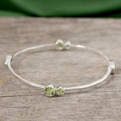 Peridot bangle bracelet, 'Tango' - Sterling Silver Bangle Peridot Bracelet from India