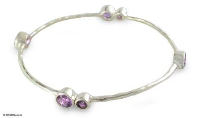 Sterling Silver Bangle Amethyst Bracelet from India