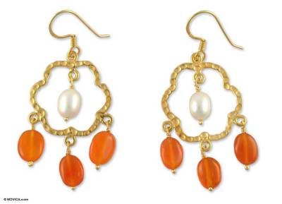 Gold Vermeil Floral Earrings with Pearl and Citrine