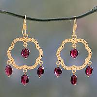 Gold vermeil garnet chandelier earrings, 'Blossom' - Handcrafted Vermeil and Garnet Earrings from India