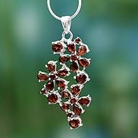 Garnet flower necklace, 'Scarlet Petals' (India)