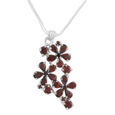 Garnet flower necklace