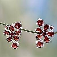 Garnet flower earrings, 'Scarlet Petals' - Handcrafted Floral Sterling Silver Garnet Earrings