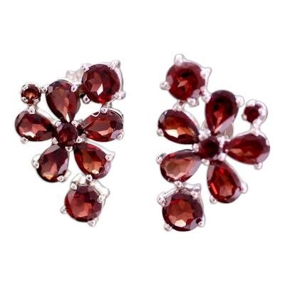 Handcrafted Floral Sterling Silver Garnet Earrings