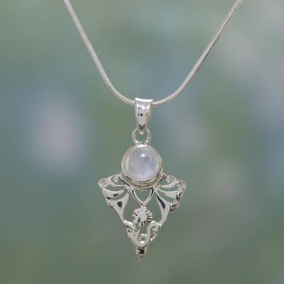 Moonstone pendant necklace, 'Rainbow Fern' - Sterling Silver and Rainbow Moonstone Necklace