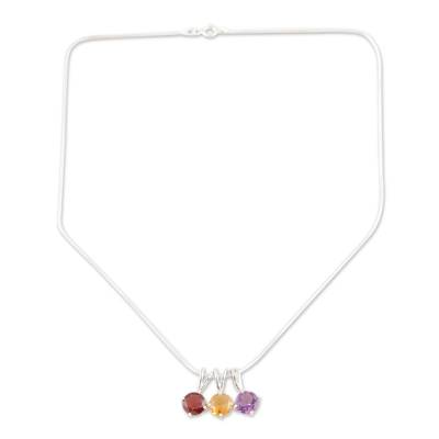 Multigem Pendant Necklace from India