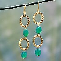 Gold vermeil dangle earrings, 'Love of Life'