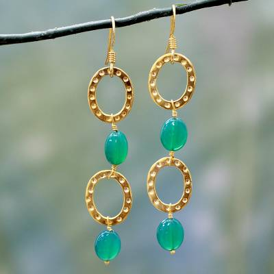 Gold vermeil dangle earrings, 'Love of Life' - Gold Vermeil and Onyx Dangle Earrings