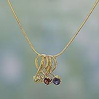 Gold vermeil garnet and iolite heart necklace, 'In My Heart' - Handcrafted Garnet and Iolite Heart Necklace
