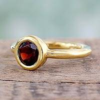 Gold vermeil garnet solitaire ring, 'Crimson Nature' - Handcrafted Vermeil Solitaire Garnet Ring