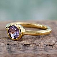 Gold vermeil amethyst solitaire ring, 'Lilac Nature' - Gold Vermeil Jewelry Solitaire Amethyst Ring