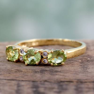 Gold vermeil peridot three-stone ring, 'Ode' - Gold vermeil peridot three-stone ring