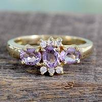 Gold vermeil amethyst cluster ring, Princess