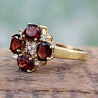 Gold vermeil garnet cocktail ring, 'Secret Love' - Gold Vermeil Garnet Ring