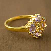 Gold vermeil amethyst cluster ring, 'Secret Love' - Fair Trade Floral Vermeil Multi-Stone Amethyst Ring