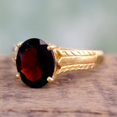 Gold vermeil garnet solitaire ring, 'Royal Red' - Handcrafted Gold Vermeil and Garnet Solitaire Ring