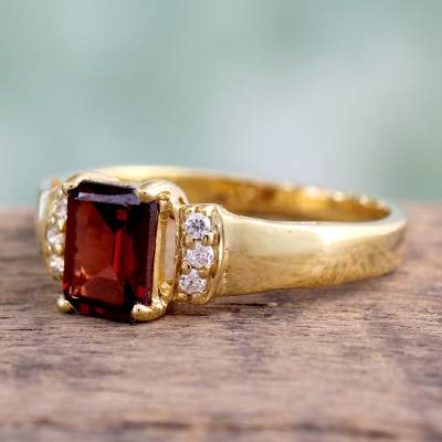 om ring silver gold alloy - Gold vermeil garnet solitaire ring