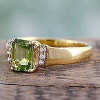 Gold vermeil peridot solitaire ring, 'Nosegay' - Gold vermeil peridot solitaire ring