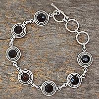 Smoky quartz link bracelet,