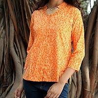 Cotton tunic, 'Regal Sunflower' - Cotton Embroidered Blouse Top