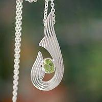 Peridot pendant necklace, 'Catch a Wave' - Peridot Necklace in Modern Indian Sterling Silver Jewelry