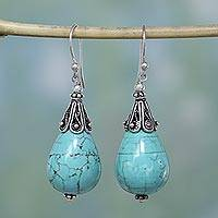 Turquoise dangle earrings, 'Glimpse of Heaven' (India)
