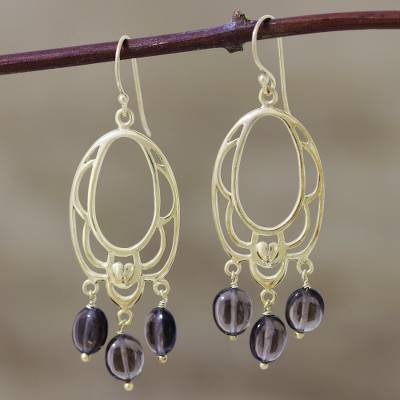 Gold vermeil smoky quartz flower earrings, 'Romance' - Gold vermeil smoky quartz flower earrings