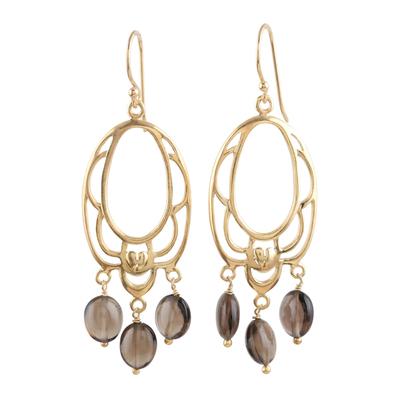 Gold vermeil smoky quartz flower earrings