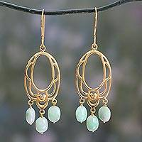 Gold vermeil chrysoprase flower earrings, 'Romance' - Gold Vermeil Chrysoprase Chandelier Earrings