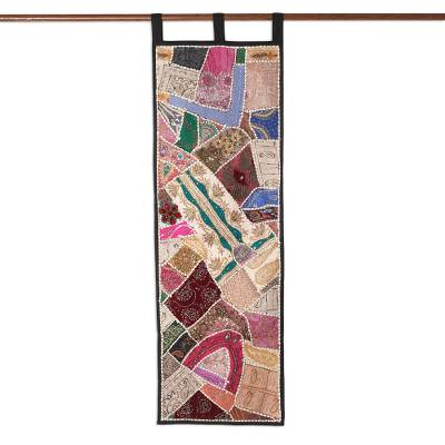 Cotton wall hanging, 'Summer Holiday' - India Gujrati Art Patchwork Wall Hanging