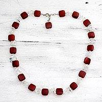 Carnelian and quartz beaded necklace,
