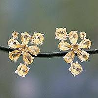Citrine flower earrings, 'Sunshine Petals' - Hand Made Floral Citrine Button Earrings