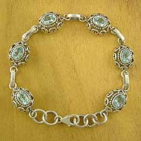 Blue topaz link bracelet, 'Celeste Muse' - Sterling Silver and Blue Topaz Bracelet Indian Jewelry