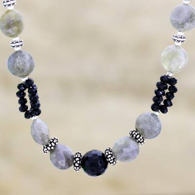 Onyx and labradorite beaded necklace, 'Mysterious Moonlight' - Onyx and labradorite beaded necklace