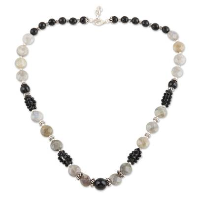 Onyx and labradorite beaded necklace