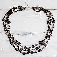 Smoky quartz strand necklace, 'Enigma' - Beaded Smoky Quartz and Sterling Silver Necklace from India