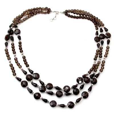 Smoky quartz strand necklace