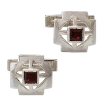 Sterling Silver Garnet Cufflinks Men