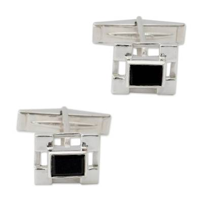 Hand Crafted Sterling Silver Onyx Cufflinks