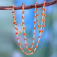 Gold vermeil carnelian strand necklace, 'Ginger' - Vermeil Beaded Carnelian Necklace