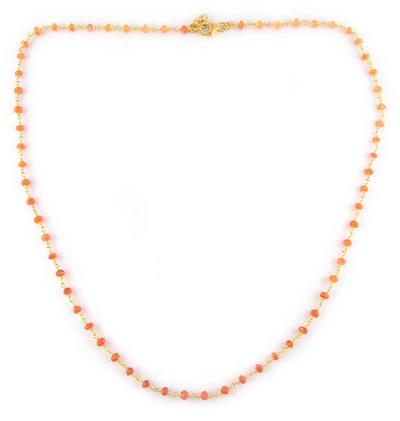 Vermeil Beaded Carnelian Necklace