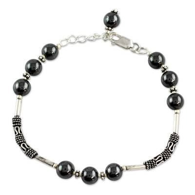 Artisan Crafted Sterling Silver Beaded Hematite Bracelet