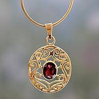 Gold vermeil and garnet choker, 'Golden Goddess' - Handcrafted Vermeil and Garnet Necklace Golden Jewelry